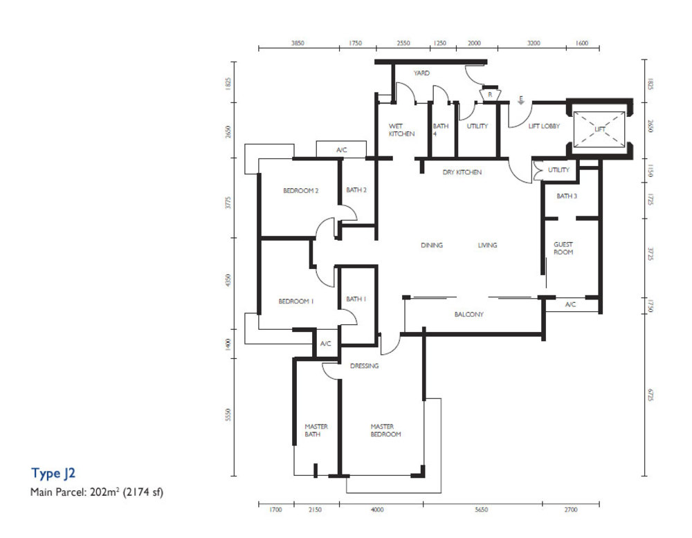 The Light Collection III Type J2 Floor Plan