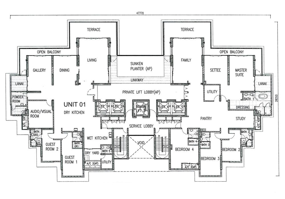 One Tanjong Penthouse Unit Floor Plan