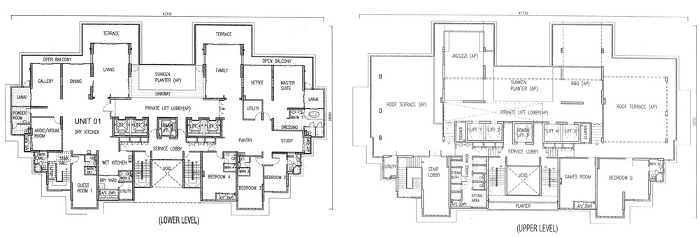 One Tanjong Top Penthouse Unit Floor Plan