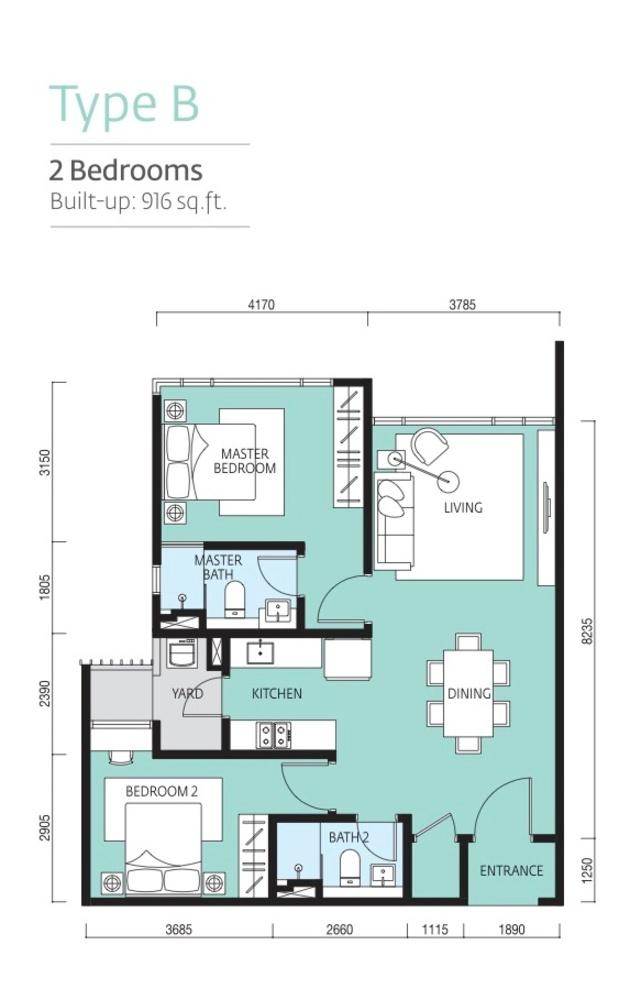 Tropicana Metropark Paloma - Type B Floor Plan