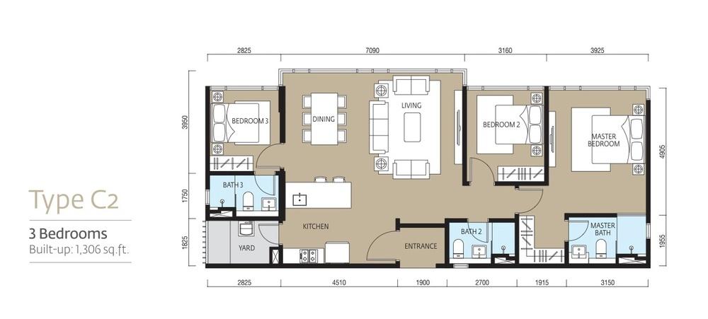 Tropicana Metropark Paloma - Type C2 Floor Plan