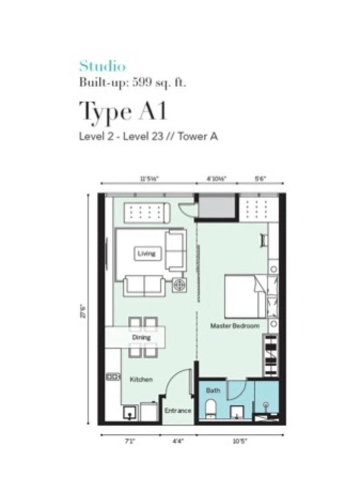 Tropicana Metropark Pandora - Type A1 Floor Plan