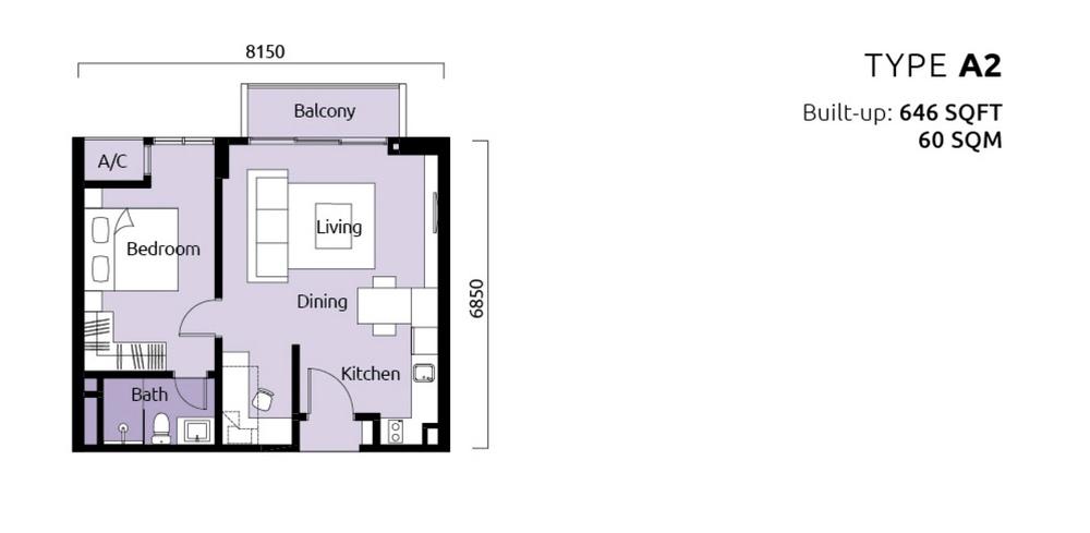 Tropicana Metropark Paisley - Type A2 Floor Plan