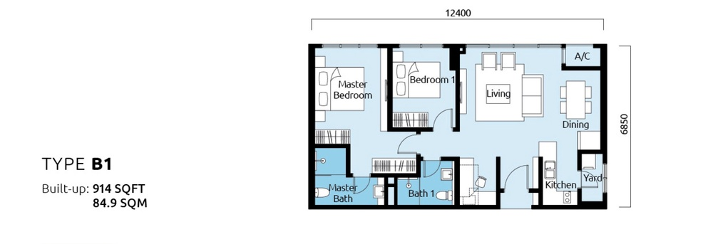 Tropicana Metropark Paisley - Type B1 Floor Plan