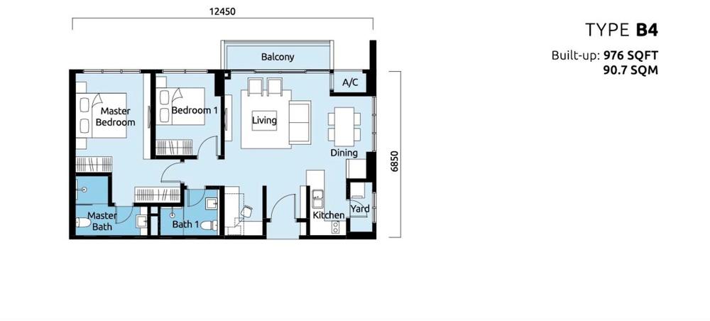 Tropicana Metropark Paisley - Type B4 Floor Plan