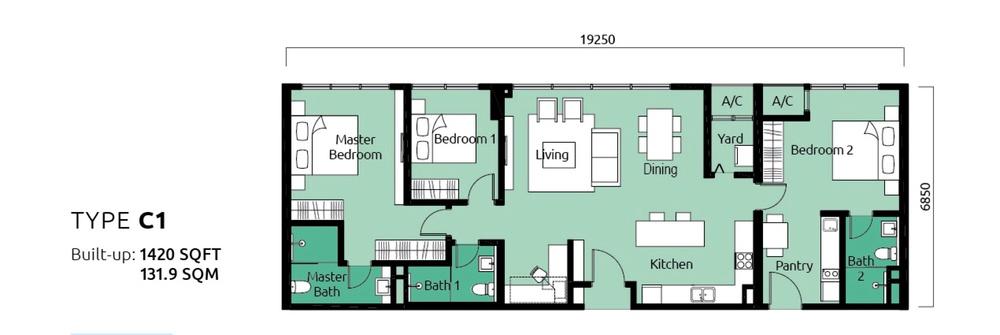 Tropicana Metropark Paisley - Type C1 Floor Plan