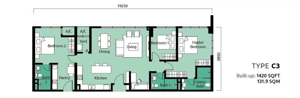 Tropicana Metropark Paisley - Type C3 Floor Plan