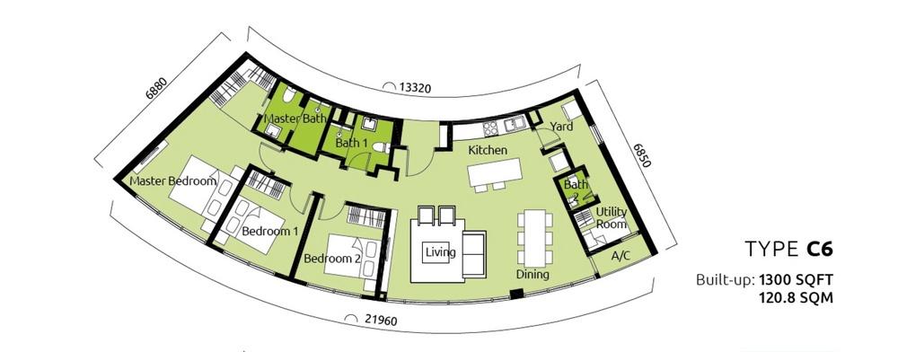 Tropicana Metropark Paisley - Type C6 Floor Plan