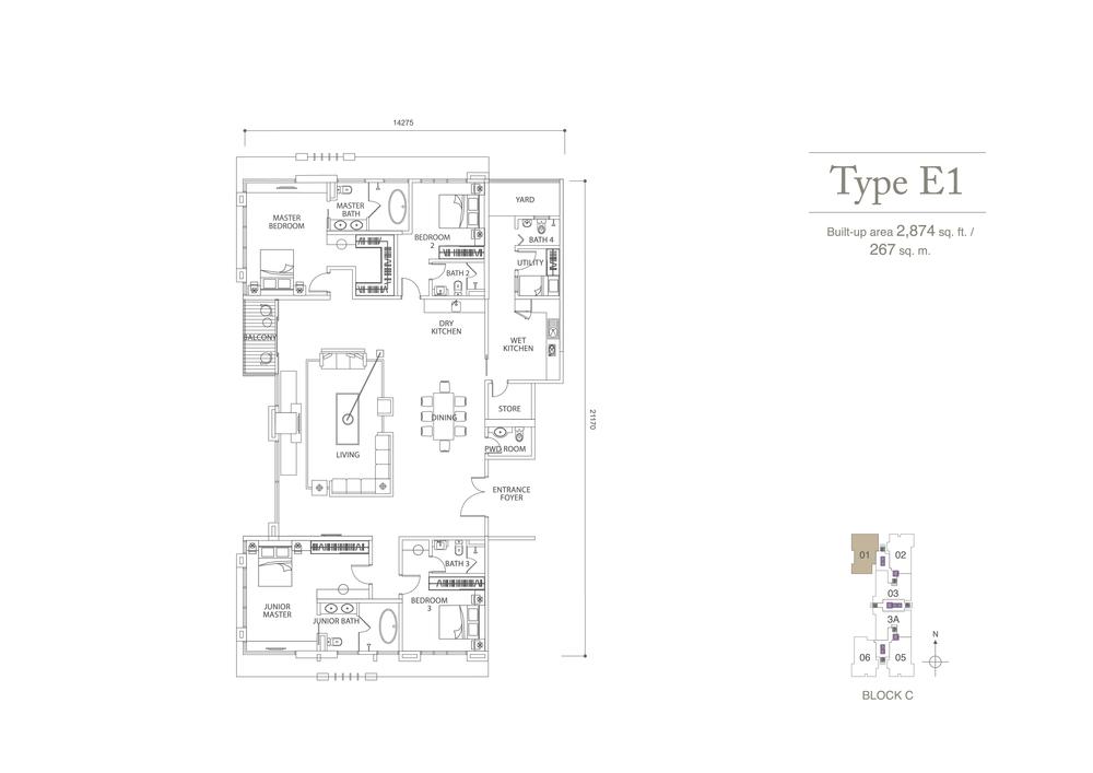 Pavilion Hilltop Type E1 Floor Plan