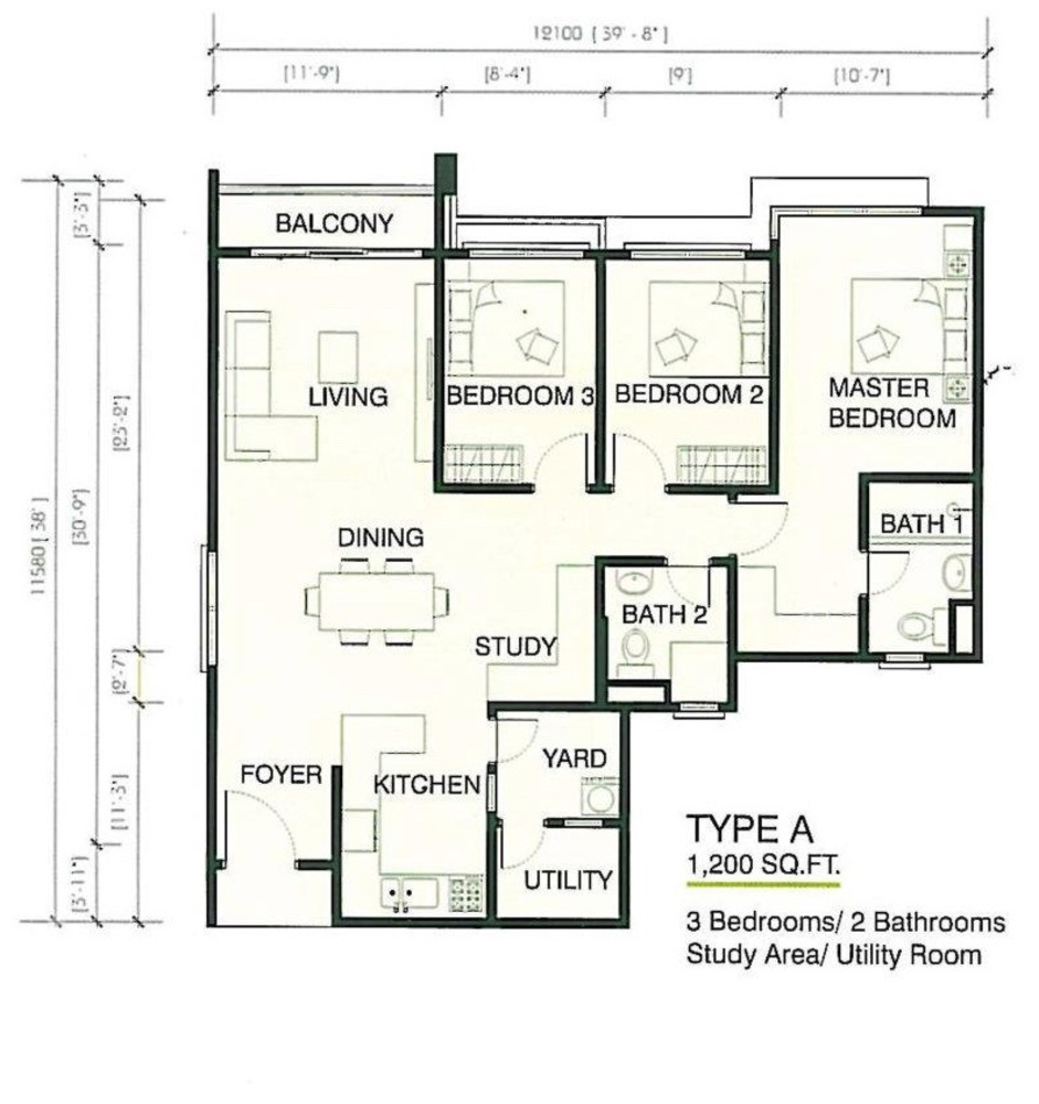 One Imperial Type A Floor Plan
