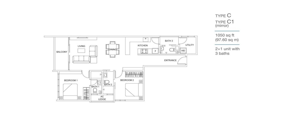 Skyville 8 Type C / C1 Floor Plan