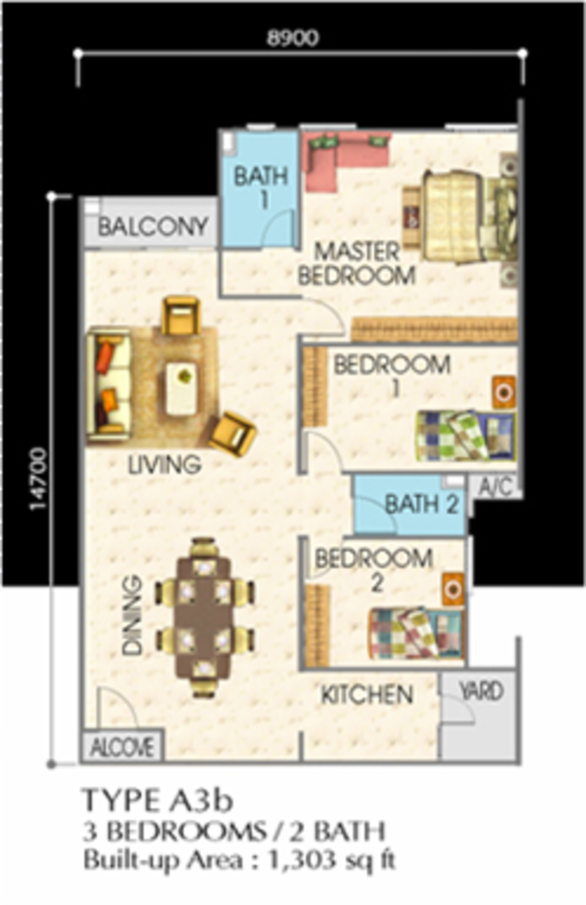 SuriaMas Suites Type A3b Floor Plan