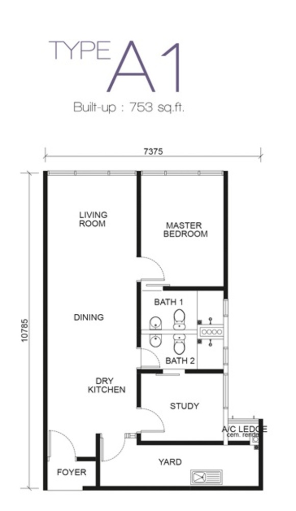 Paragon Residences @ Straits View Type A1 Floor Plan