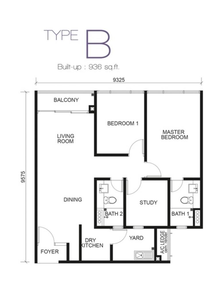Paragon Residences @ Straits View Type B Floor Plan
