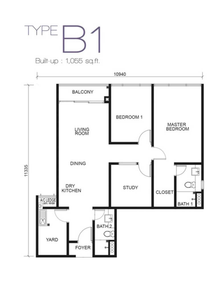 Paragon Residences @ Straits View Type B1 Floor Plan