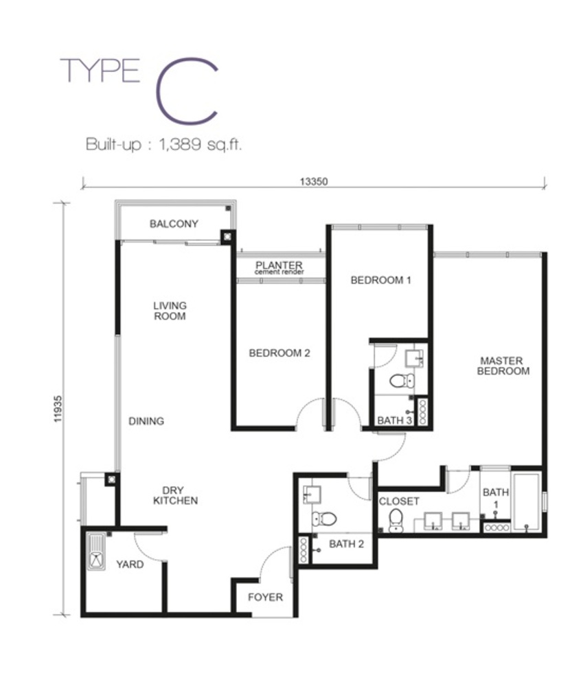 Paragon Residences @ Straits View Type C Floor Plan
