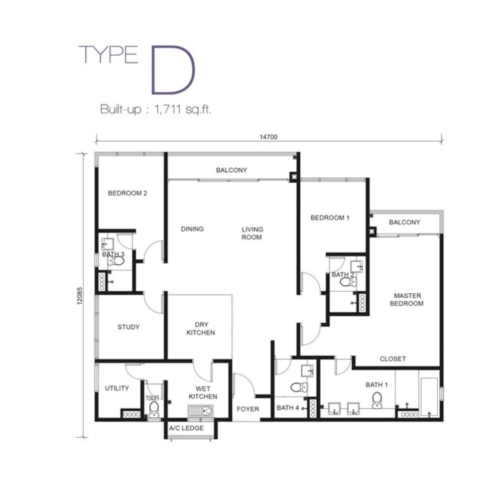 Paragon Residences @ Straits View Type D Floor Plan