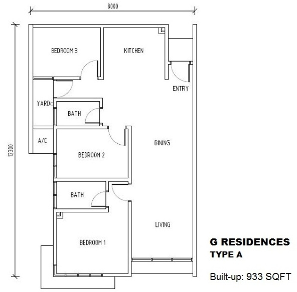 G Residences @ Pacific Place Type A Floor Plan