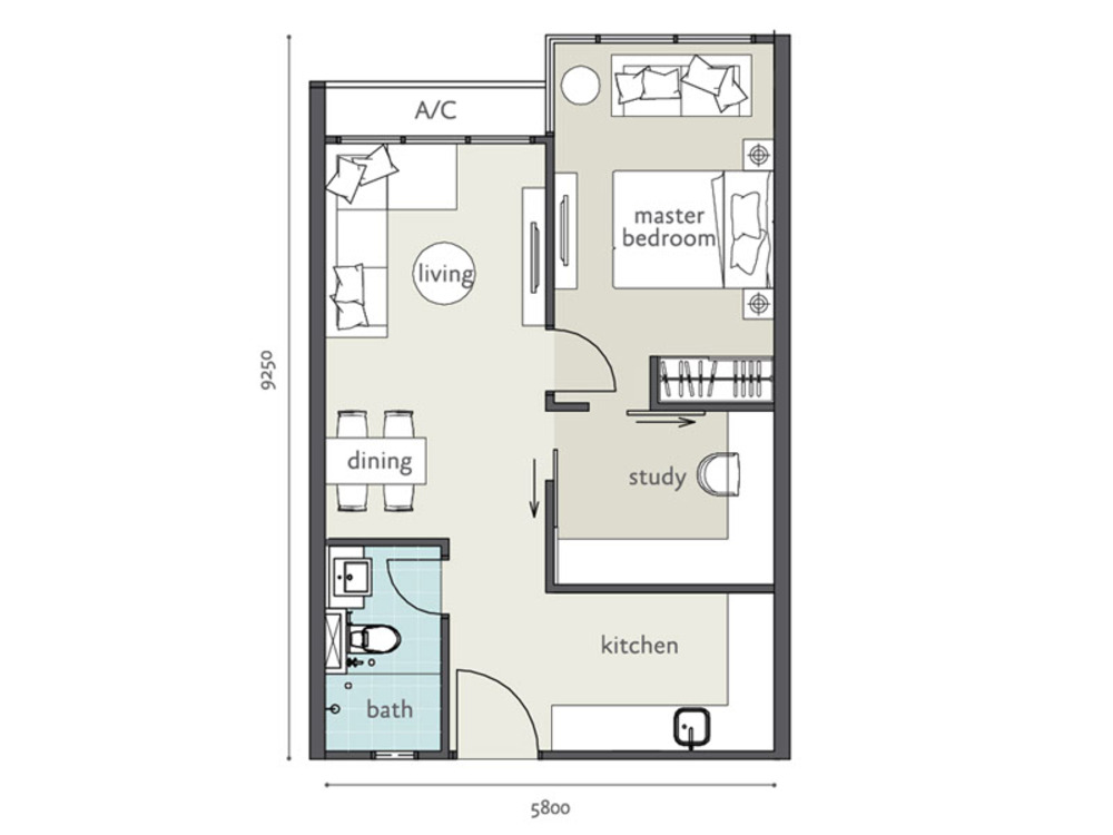 Tropicana Bay Residences Type B1 Floor Plan