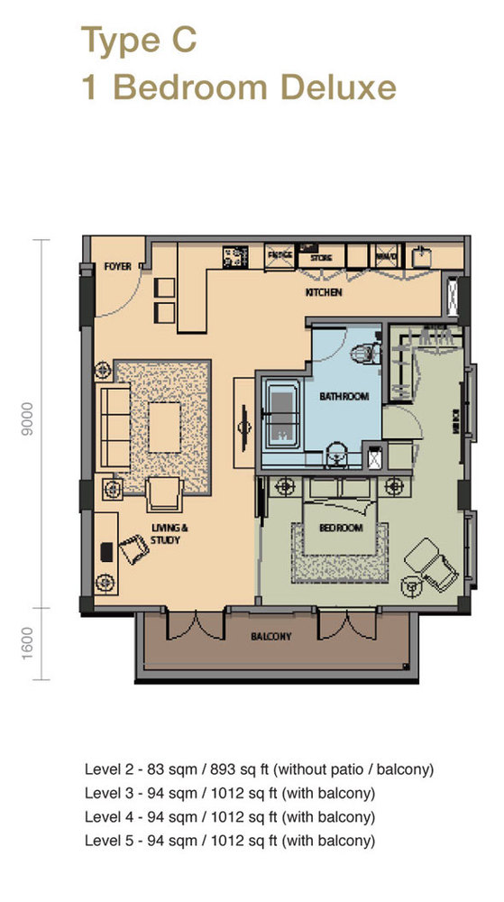 The Rice Miller City Residences Type C 1 Bedroom Deluxe Floor Plan