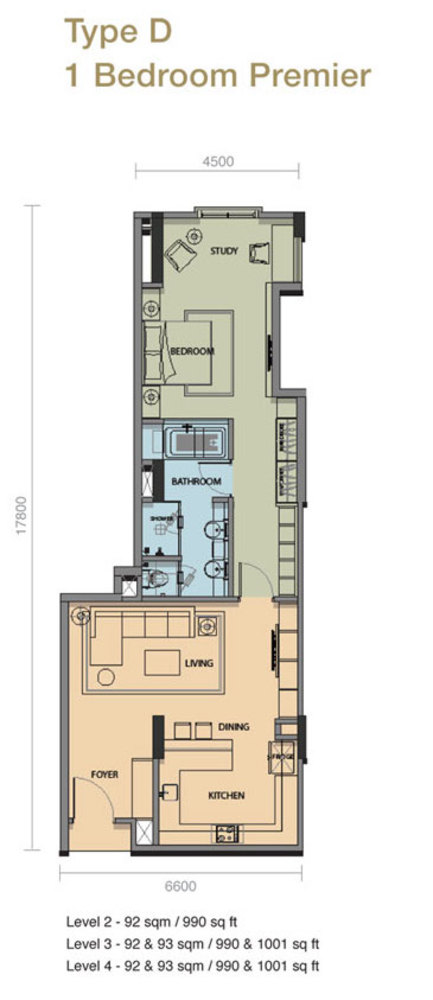 The Rice Miller City Residences Type D 1 Bedroom Premier Floor Plan