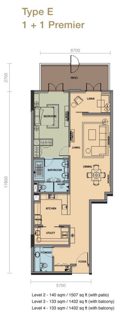 The Rice Miller City Residences Type E 1 + 1 Premier Floor Plan