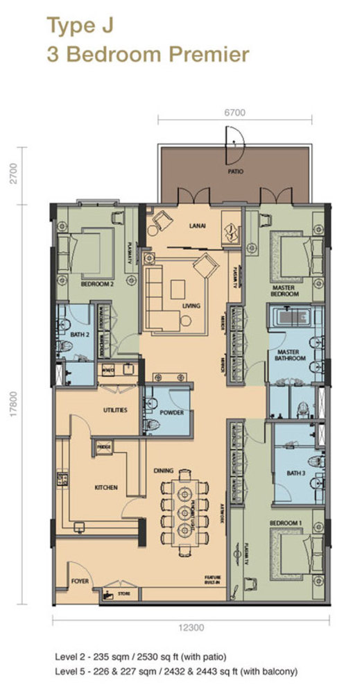 The Rice Miller City Residences Type J 3 Bedroom Premier Floor Plan