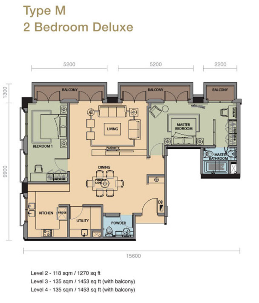 The Rice Miller City Residences Type M 2 Bedroom Deluxe Floor Plan