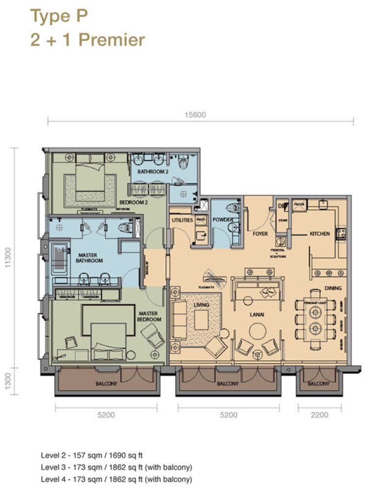 The Rice Miller City Residences Type P 2+1 Premier Floor Plan