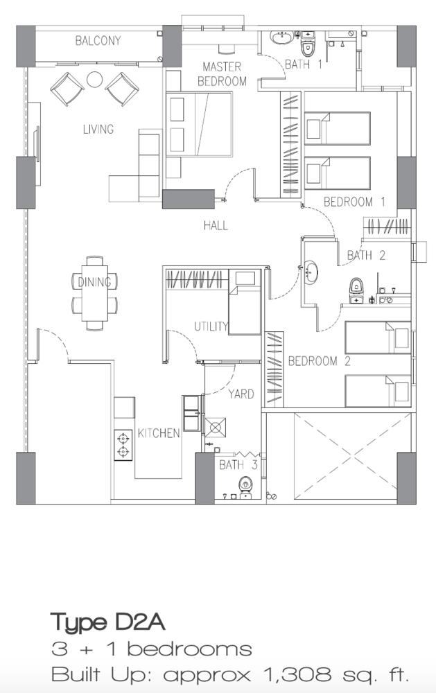 Sierra East Type D2A Floor Plan