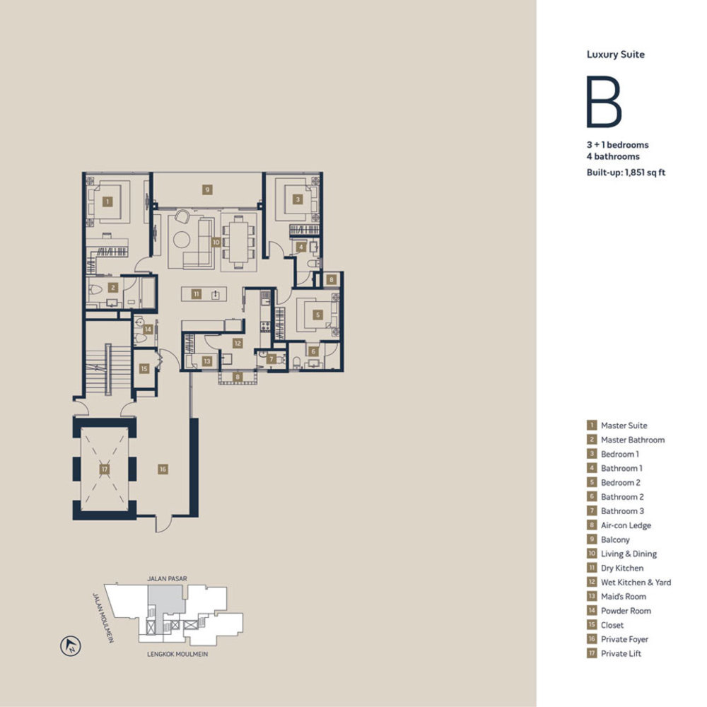 Moulmein Rise Luxury Suite B Floor Plan