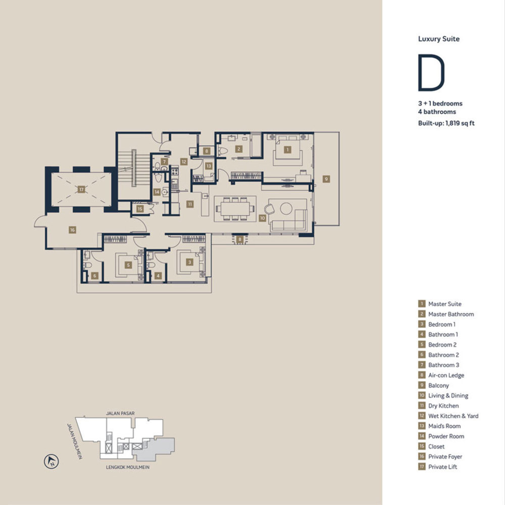 Moulmein Rise Luxury Suite D Floor Plan