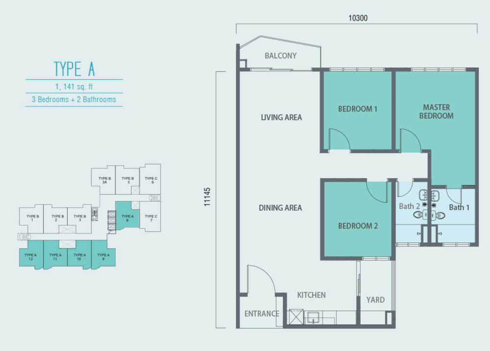 Aurora Residence @ Lake Side City Type A Floor Plan