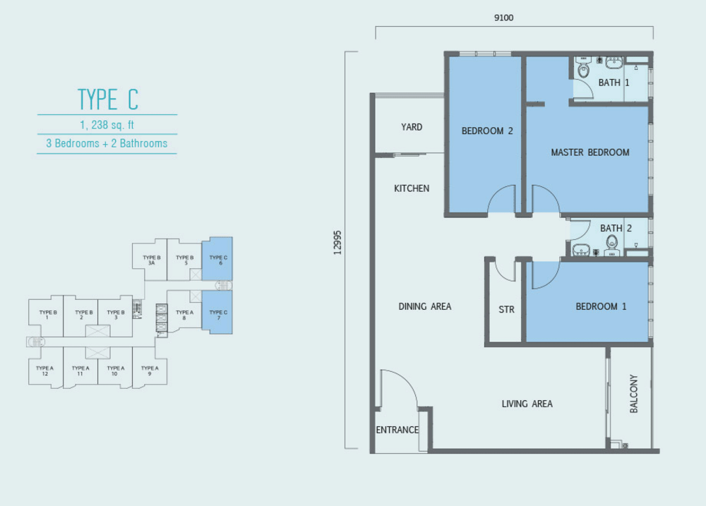 Aurora Residence @ Lake Side City Type C Floor Plan