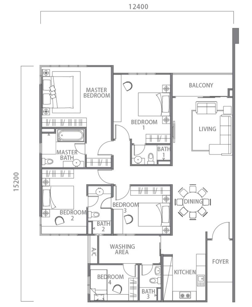 100 Residency Type A Floor Plan
