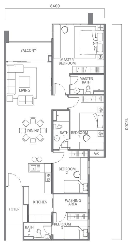 100 Residency Type B Floor Plan