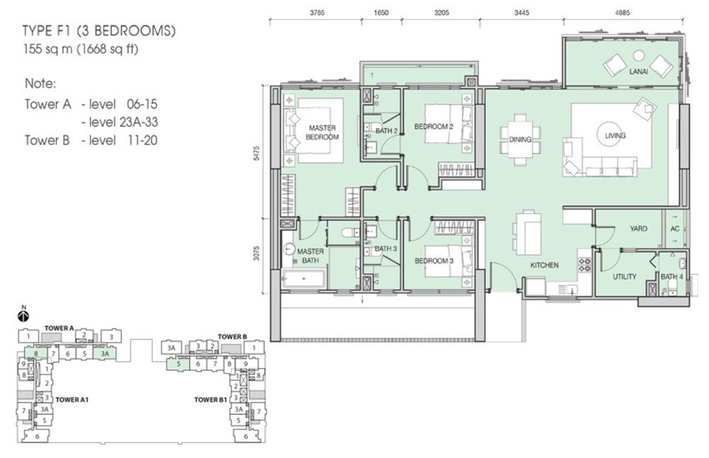 Iskandar Residences Type F1 Floor Plan