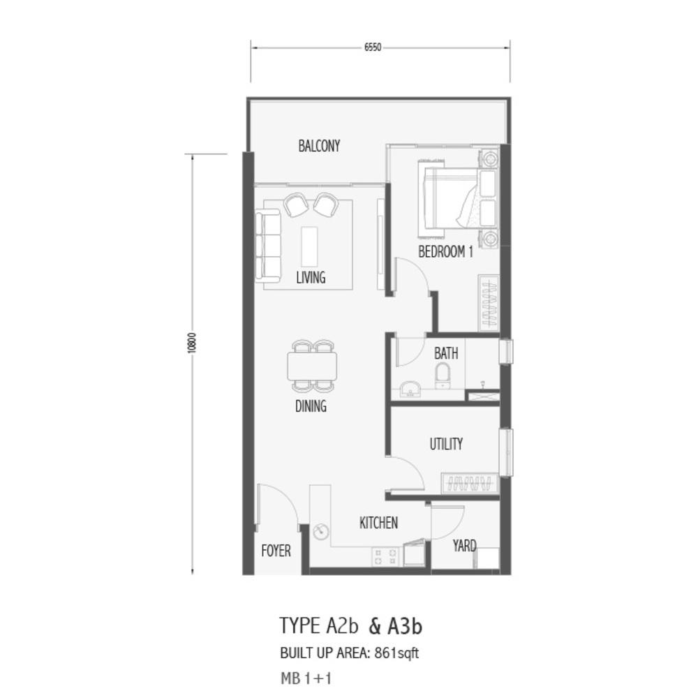 Setia Sky 88 Type A2B & A3B - Sora Floor Plan