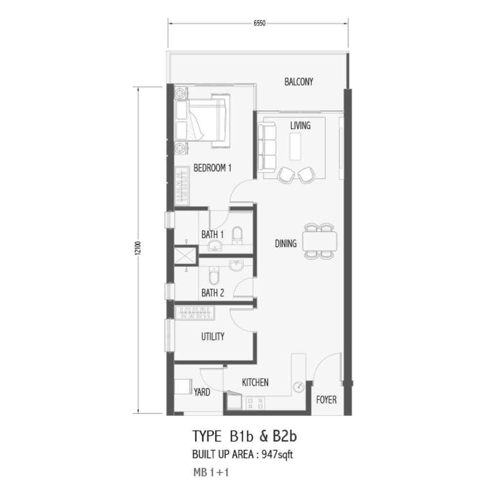 Setia Sky 88 Type B1B & B2B - Sora Floor Plan