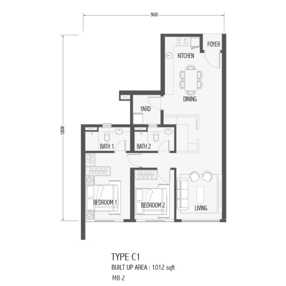 Setia Sky 88 Type C1 - Sora Floor Plan