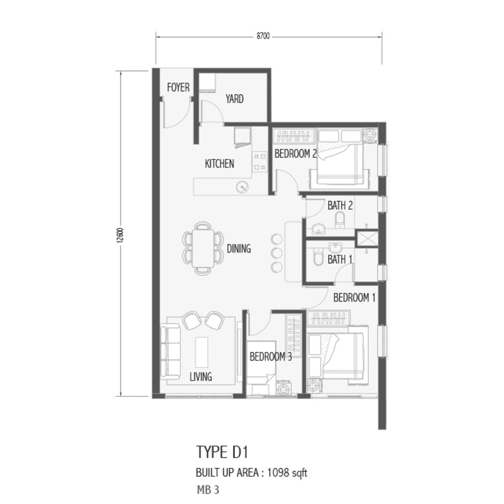 Setia Sky 88 Type D1 - Sora Floor Plan
