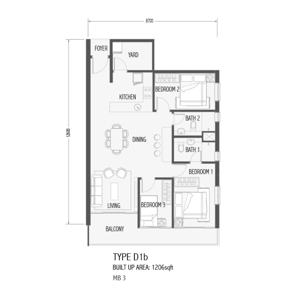 Setia Sky 88 Type D1B - Sora Floor Plan