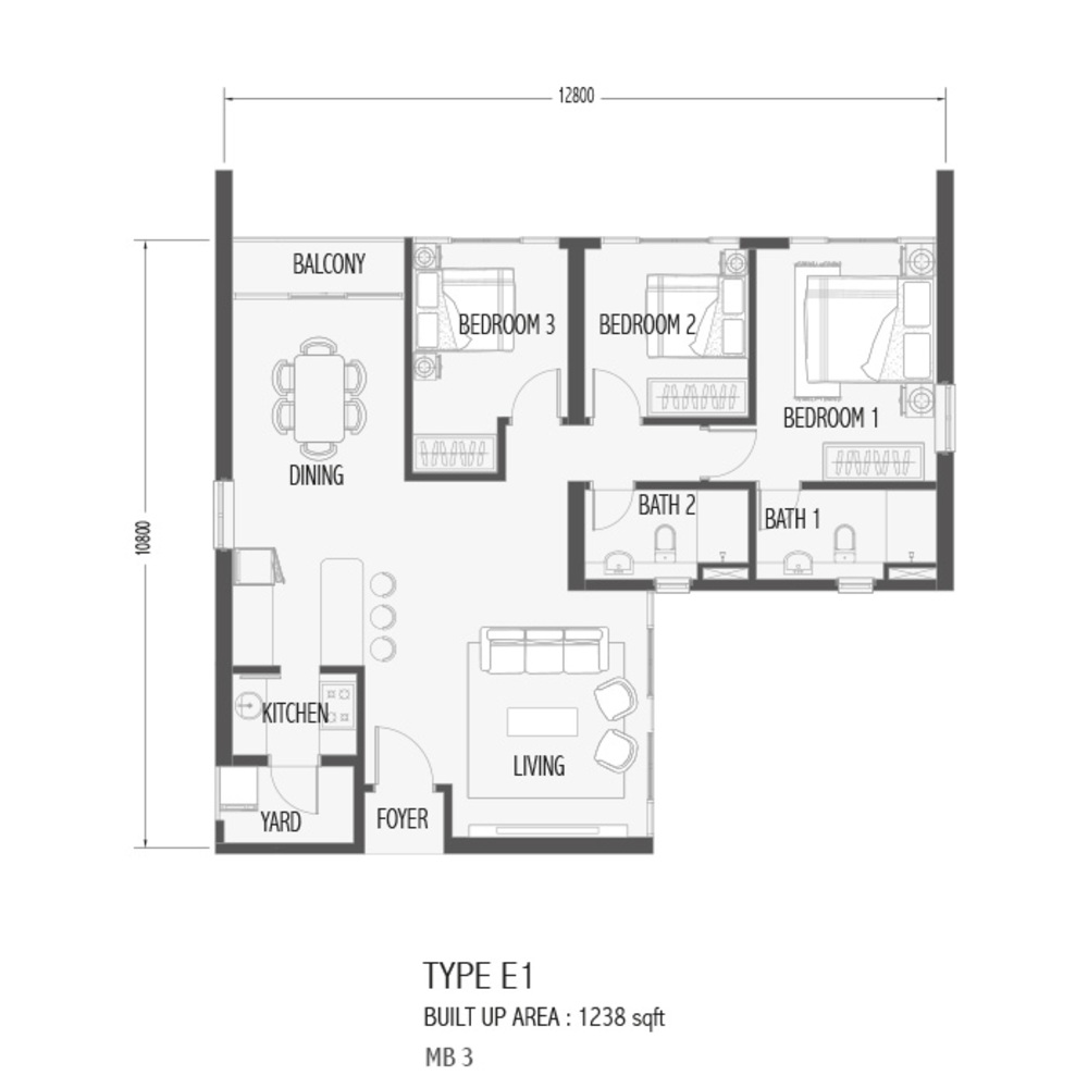 Setia Sky 88 Type E1 - Sora Floor Plan