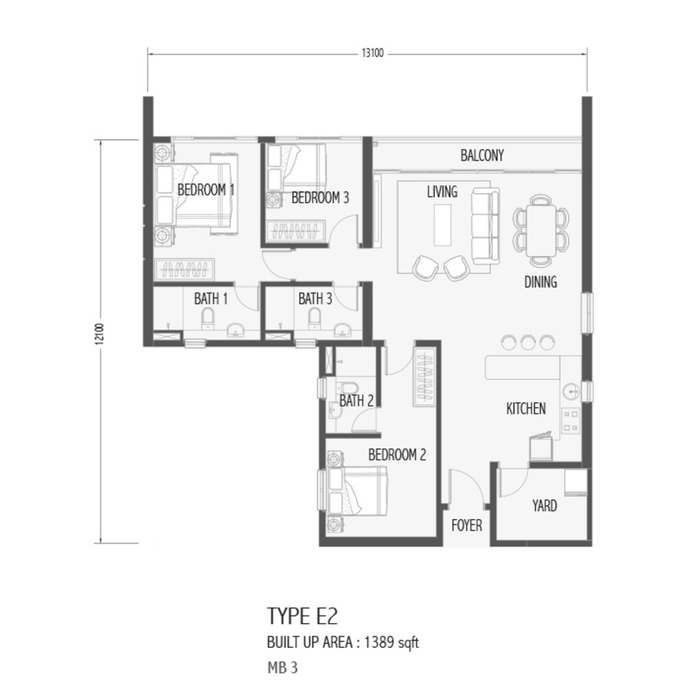 Setia Sky 88 Type E2 - Sora Floor Plan