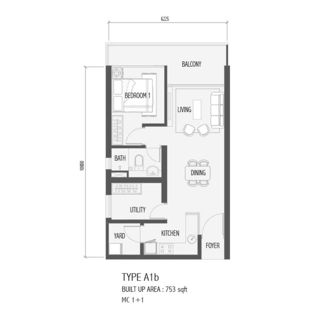 Setia Sky 88 Type A1B - Nube Floor Plan