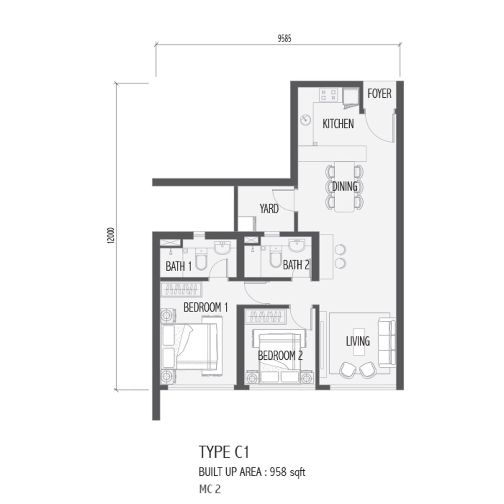 Setia Sky 88 Type C1 - Nube Floor Plan
