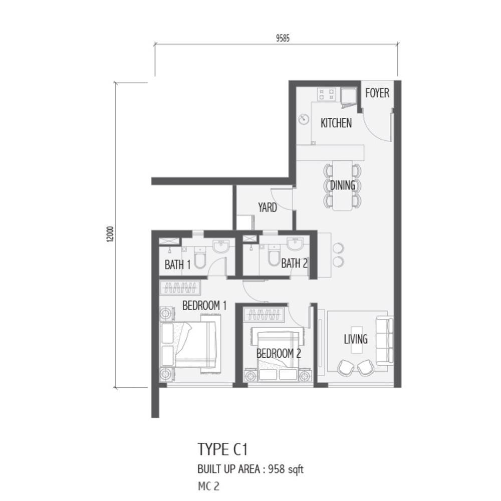 Setia Sky 88 Type C1 - Nube Floor Plan