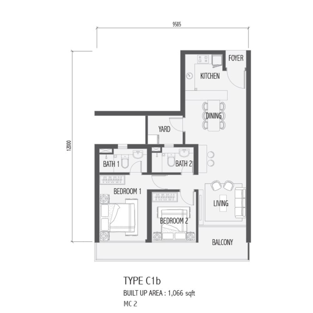 Setia Sky 88 Type C1B - Nube Floor Plan