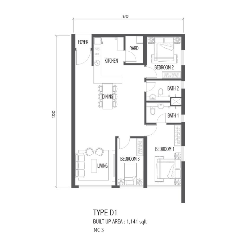 Setia Sky 88 Type D1 - Nube Floor Plan