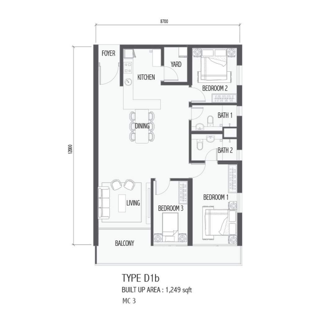 Setia Sky 88 Type D1B - Nube Floor Plan